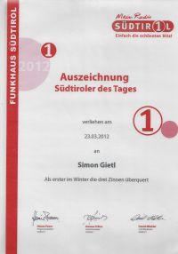 Südtirol1 - Auszeichnung